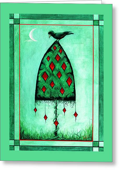 Greeting Card featuring the mixed media Crow Dreams 2 by Terry Webb Harshman