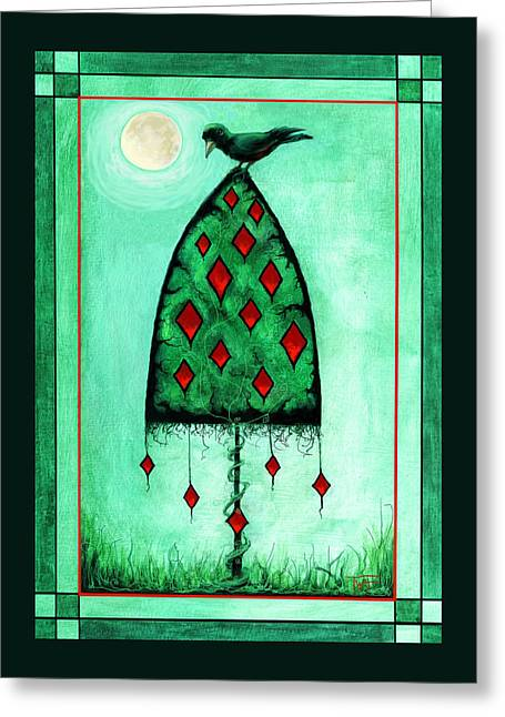 Greeting Card featuring the mixed media Crow Dreams by Terry Webb Harshman