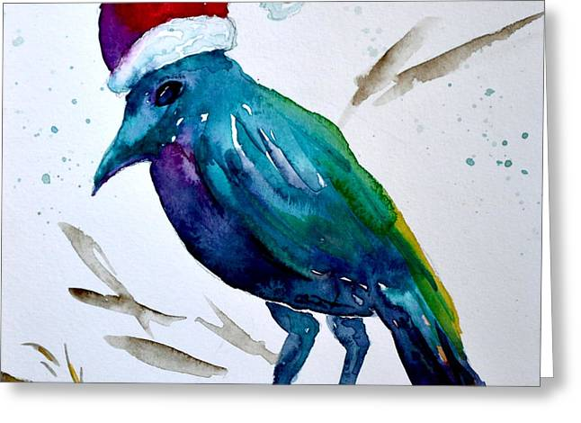 Crow Ho Ho Greeting Card by Beverley Harper Tinsley