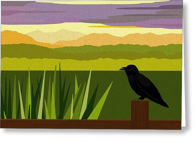 Crow In The Corn Field Greeting Card