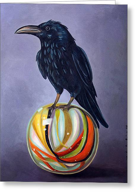Crow On Marble Edit 2 Greeting Card by Leah Saulnier The Painting Maniac