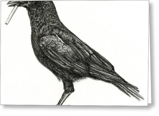 Greeting Card featuring the drawing Crow by Penny Collins