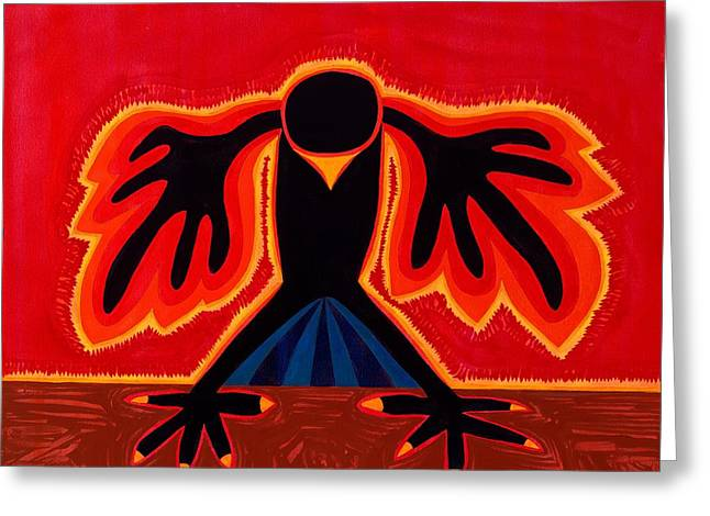 Crow Rising Original Painting Greeting Card by Sol Luckman