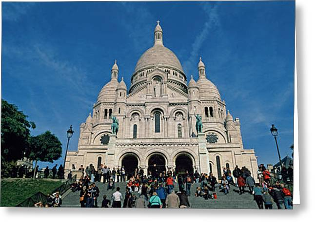 Crowd At A Basilica, Basilique Du Sacre Greeting Card by Panoramic Images