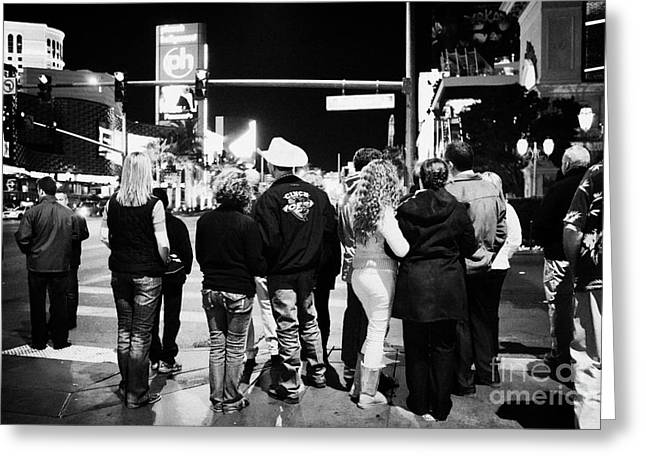 crowd of people standing waiting for crosswalk lights to change Las Vegas Nevada USA Greeting Card