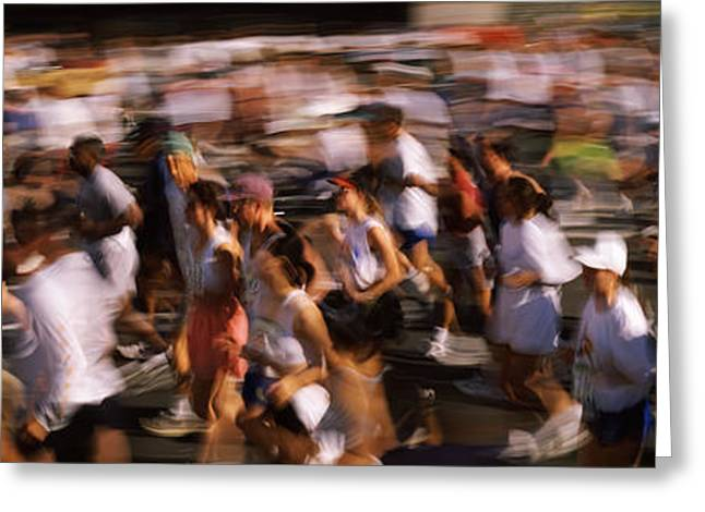 Crowd Participating In A Marathon Race Greeting Card by Panoramic Images