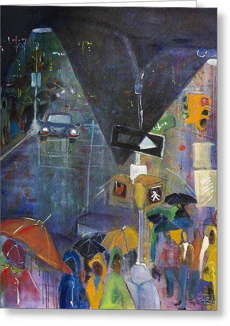Crowded Intersection Greeting Card