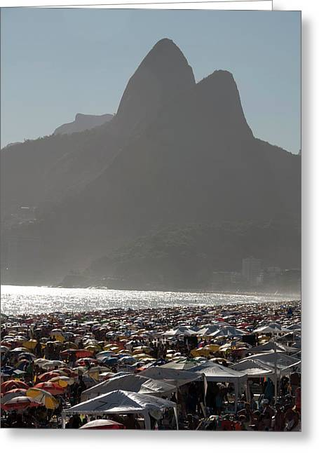Crowded Ipanema Beach Scene, Rio De Greeting Card by Kevin Berne