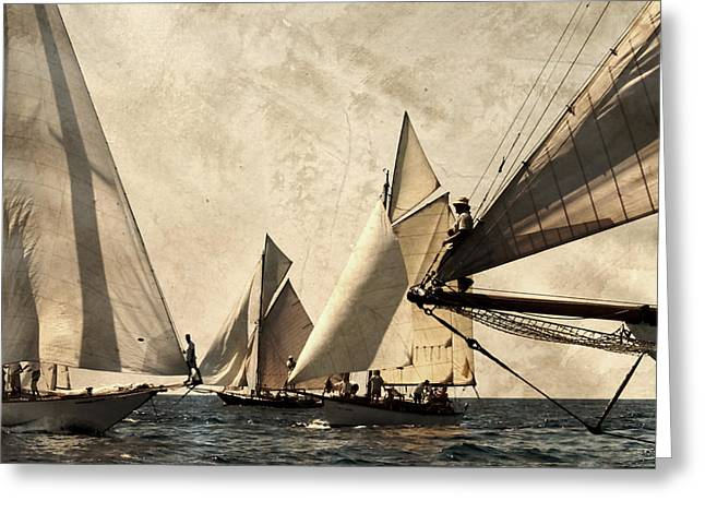 A Vintage Processed Image Of A Sail Race In Port Mahon Menorca - Crowded Sea Greeting Card by Pedro Cardona