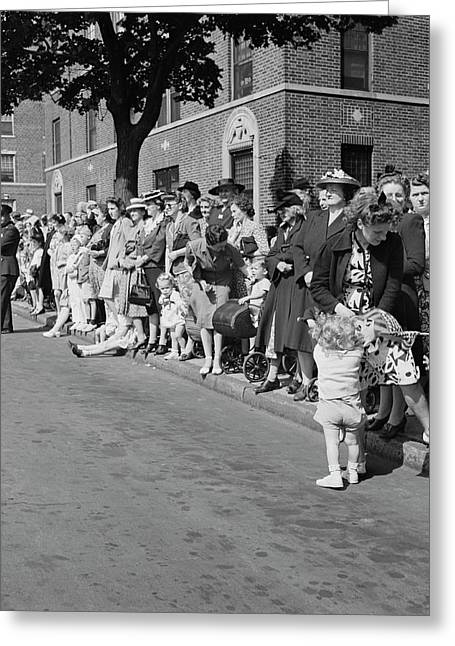 Crowds Watching A Parade In Brooklyn Greeting Card by Stocktrek Images