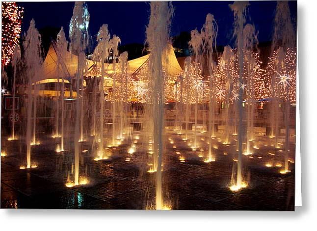 Crown Center Fountain At Christmas Greeting Card by Ellen Tully