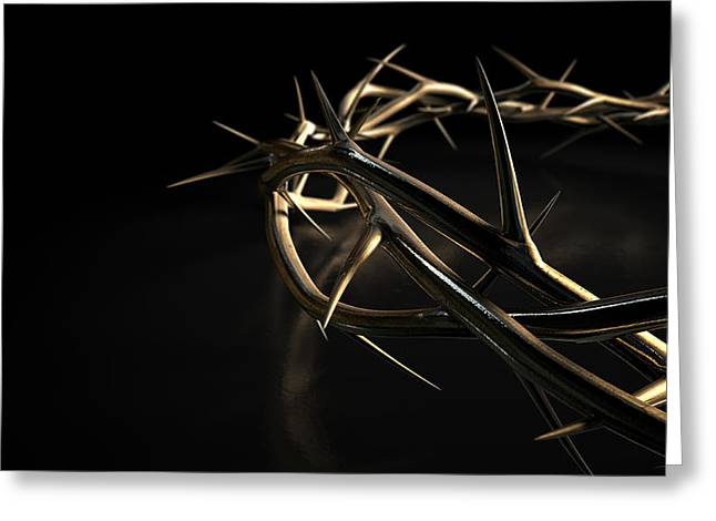 Crown Of Thorns Gold On Black Greeting Card by Allan Swart