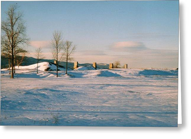 Crown Point Chimneys With Snow Greeting Card by David Fiske