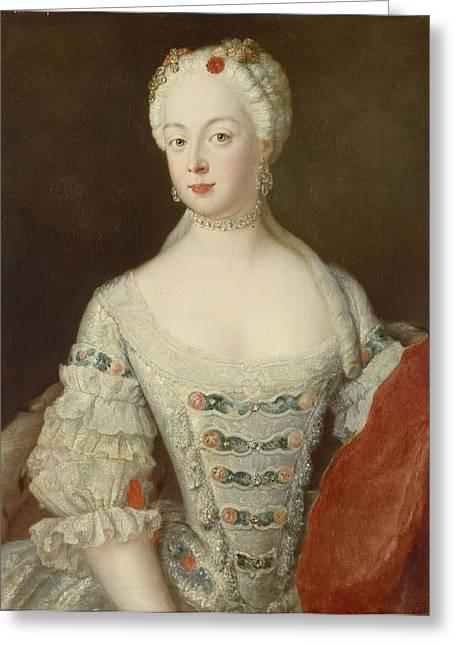 Crown Princess Elisabeth Christine Von Preussen, C.1735 Oil On Canvas Greeting Card by Antoine Pesne