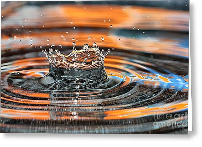 Crown Shaped Water Drop Macro Greeting Card by Teresa Zieba