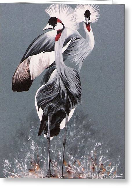 Greeting Card featuring the painting Crowned Cranes by DiDi Higginbotham