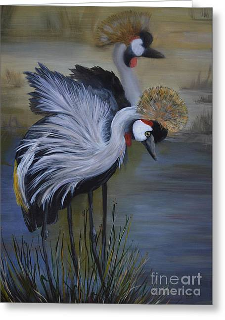 Crowned Cranes Greeting Card by Nancy Bradley