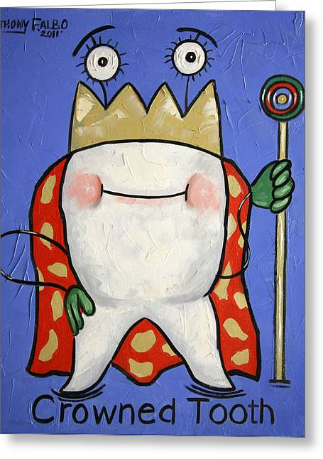 Greeting Card featuring the painting Crowned Tooth by Anthony Falbo