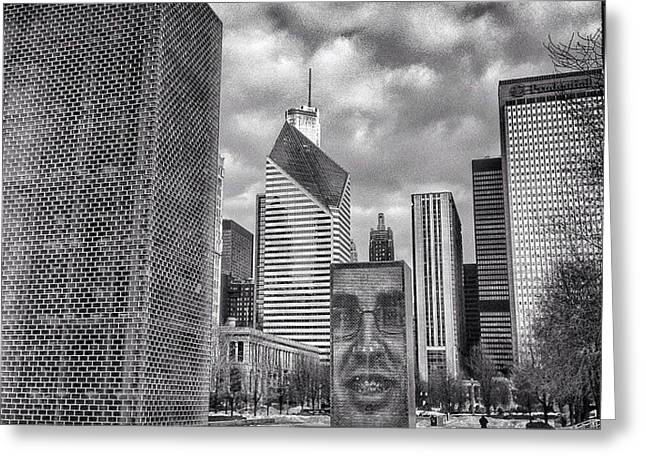 Chicago Crown Fountain Black And White Photo Greeting Card by Paul Velgos
