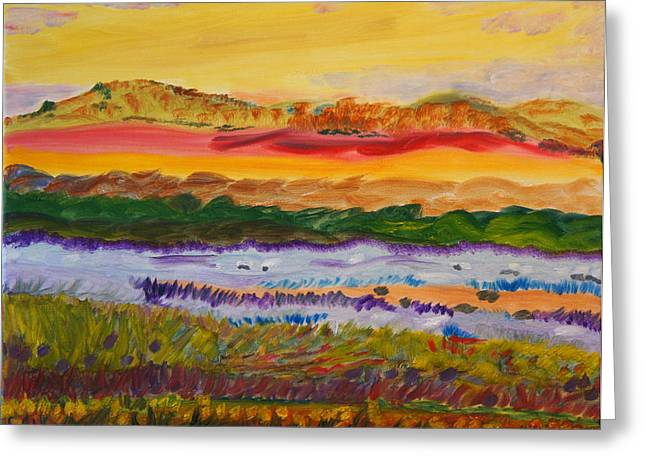 Greeting Card featuring the painting Crowning Hills by Meryl Goudey