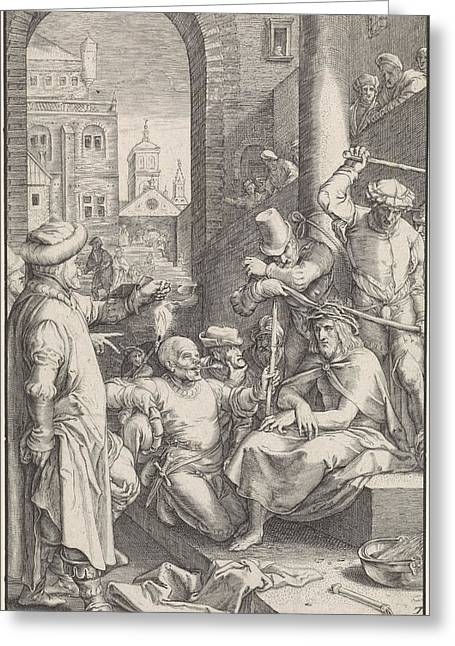 Crowning With Thorns, Ludovicus Siceram, Hendrick Goltzius Greeting Card