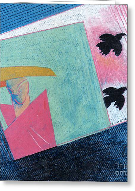 Crows And Geometric Figure Greeting Card by Genevieve Esson