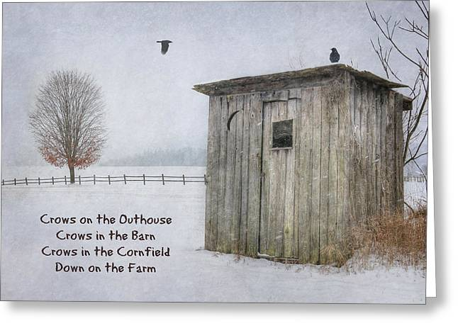 Crows On The Outhouse Greeting Card by Lori Deiter