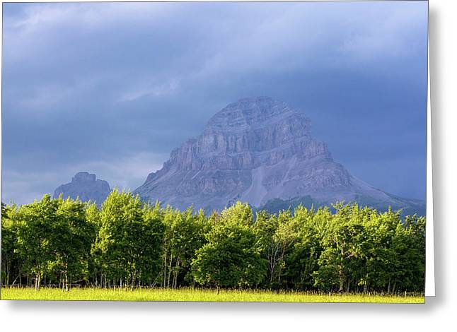 Crowsnest Mountain At Crownest Pass Greeting Card by Chuck Haney
