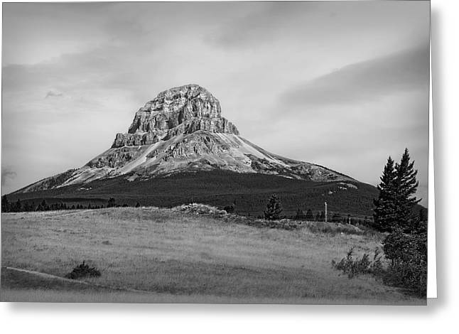 Crowsnest Mountain Black And White Greeting Card