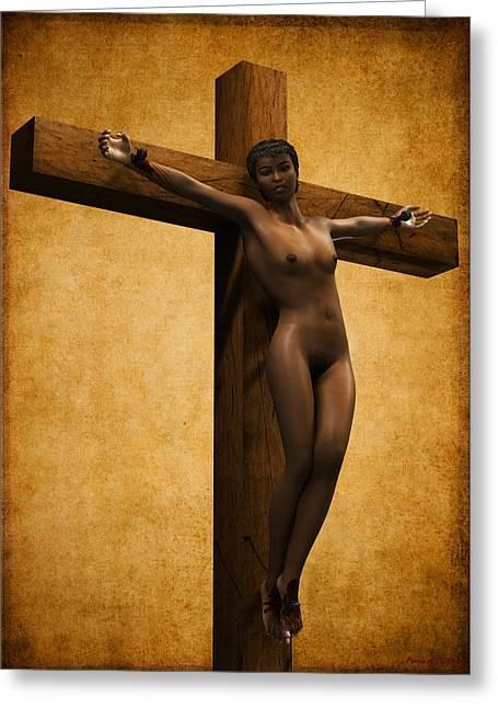 Crucified Black Woman Greeting Card by Ramon Martinez