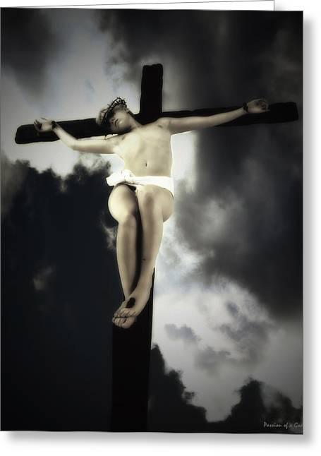 Crucified Christ Greeting Card by Ramon Martinez