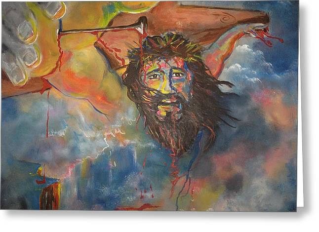 crucified with Christ Greeting Card by Ricardo Colon