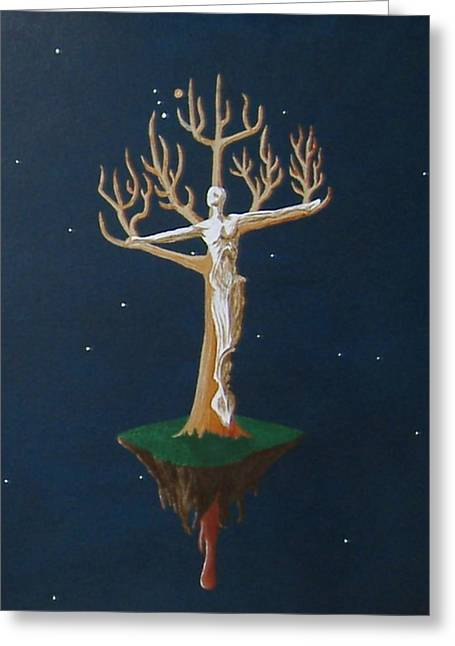 Greeting Card featuring the painting Crucifix 2 by Steve  Hester