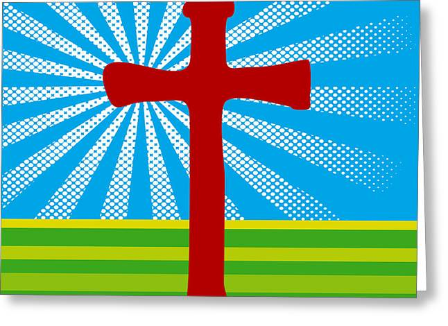 Crucifix And Light Greeting Card by Alain De Maximy