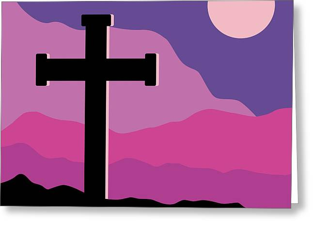 Crucifix And Moon Greeting Card by Alain De Maximy