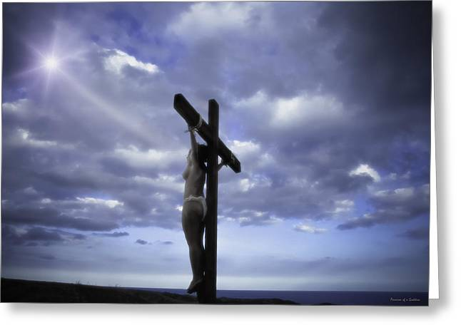 Crucifix In The Light Greeting Card by Ramon Martinez