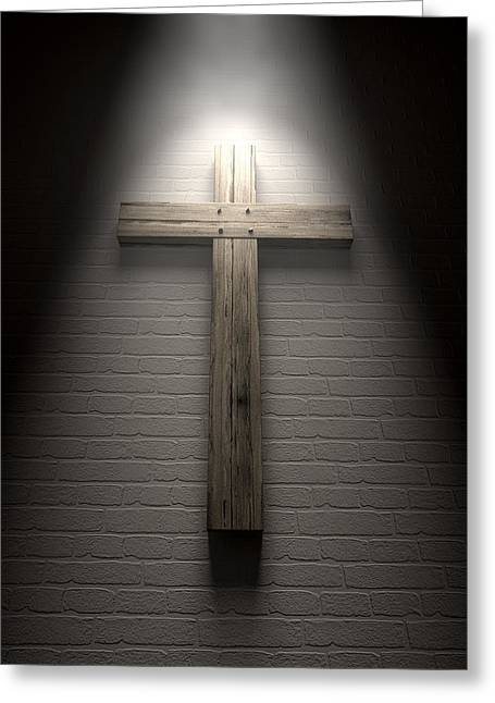 Crucifix On A Wall Under Spotlight Greeting Card by Allan Swart