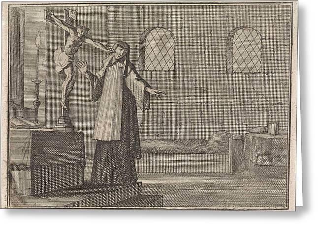 Crucifix Pricks A Nail In The Cheek Of A Fleeing Nun Greeting Card by Caspar Luyken And Christoph Weigel And Frantz Martin Hertzen