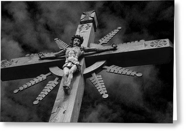 Crucifixion Darkness 2 Greeting Card by David T Wilkinson
