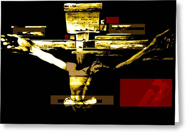Crucifixion In Red Gold And Black Greeting Card