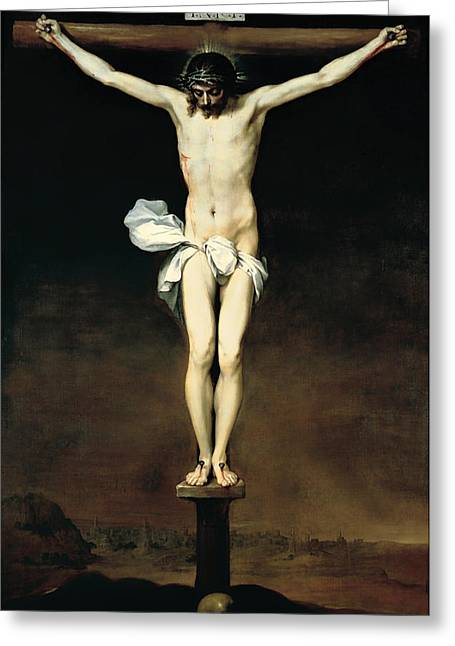 Crucifixion Of Christ Greeting Card by Mountain Dreams