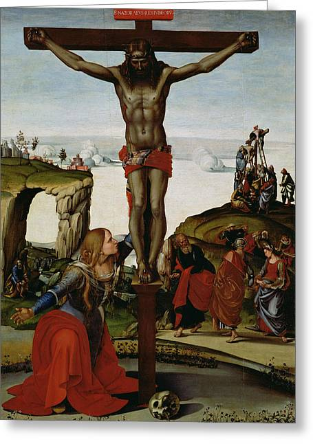Crucifixion With Mary Magdalene Greeting Card by Luca Signorelli