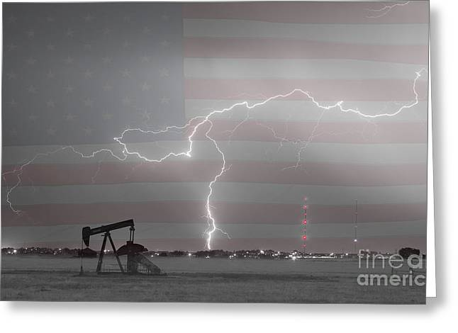Crude Oil And Natural Gas Striking Across America Bwsc Greeting Card by James BO  Insogna