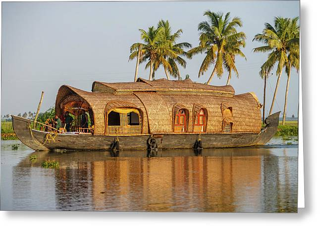 Cruise Boat In Backwaters, Kerala, India Greeting Card by Ali Kabas
