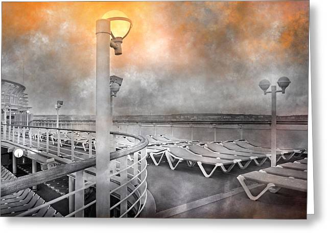 Cruise Boat Lamps Greeting Card by Betsy Knapp