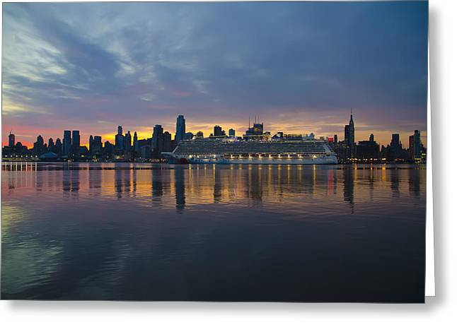 Cruise Liner On The Hudson At Dawn Greeting Card