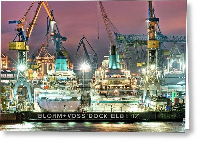 Cruise Liners In A Dry Dock Greeting Card by Bildagentur-online/ohde/science Photo Library