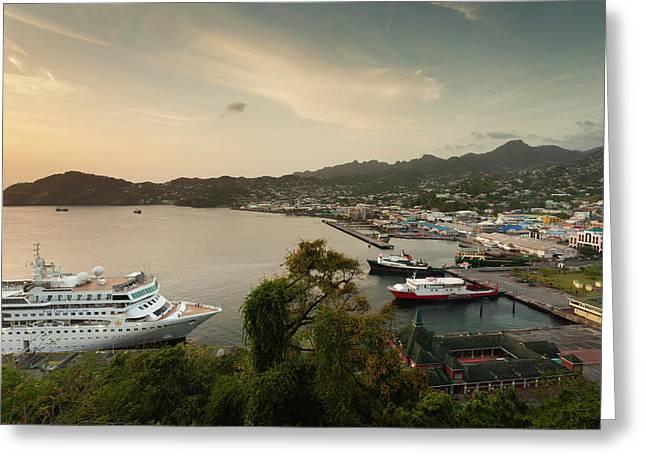 Cruise Ship At Port, Kingstown, Saint Greeting Card