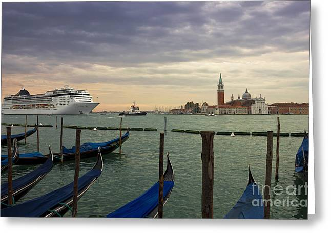 Cruise Ship Entering The Venice Lagoon At Dawn Greeting Card by Kiril Stanchev