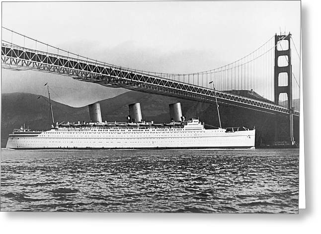 Cruise Ship Under Sf Bridge Greeting Card by Underwood Archives